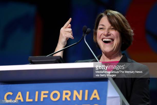 Democratic presidential candidate US Senator Amy Klobuchar speaks during Day 2 of the California Democratic Party Convention at the Moscone...