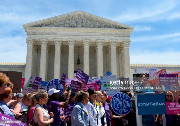 Democratic presidential candidate US Senator Amy Klobuchar speaks outside the US Supreme Court as prochoice activist rally in Washington DC on May 21...