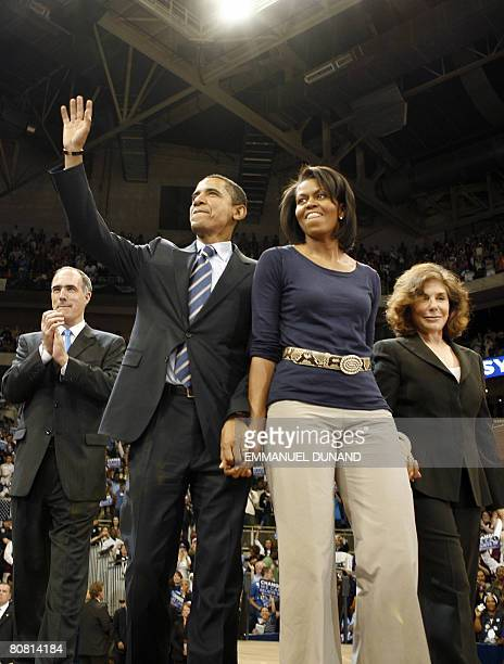 Democratic presidential candidate US Senator Barack Obama his wife Michelle Pennsylvania Senator Robert Casey and Teresa HeinzKerry during a rally at...