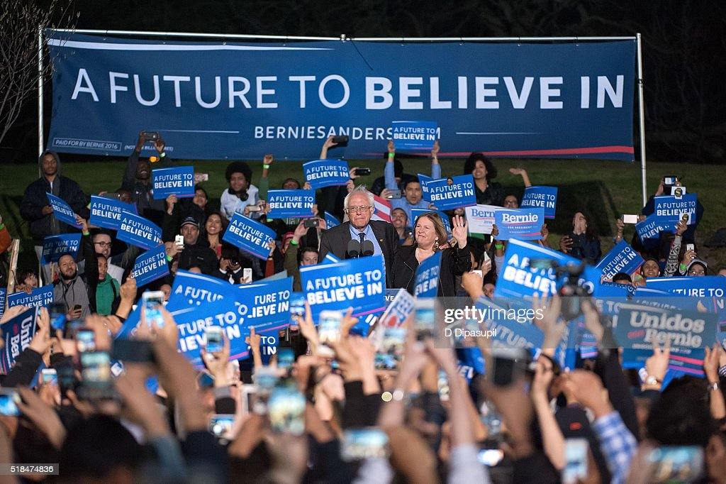 Democratic presidential candidate U.S. Senator Bernie Sanders (D-VT) and wife Jane Sanders greet supporters at a campaign event at Saint Mary's Park on March 31, 2016 in New York City.