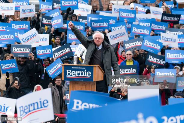 Democratic Presidential candidate US Senator Bernie Sanders launches first presidential campaign rally with more than 10000 in attendance at Brooklyn...
