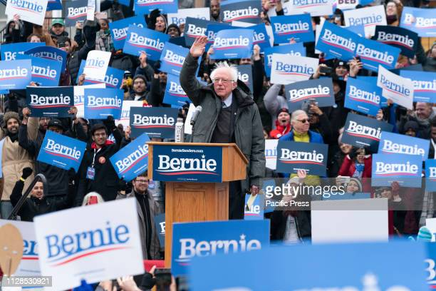 Democratic Presidential candidate US Senator Bernie Sanders speaks at first presidential campaign rally with more than 10000 in attendance at...
