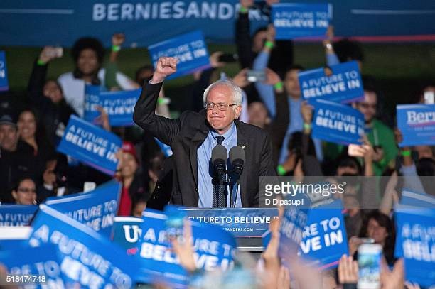 Democratic presidential candidate US Senator Bernie Sanders speaks onstage at a campaign event at Saint Mary's Park on March 31 2016 in New York City