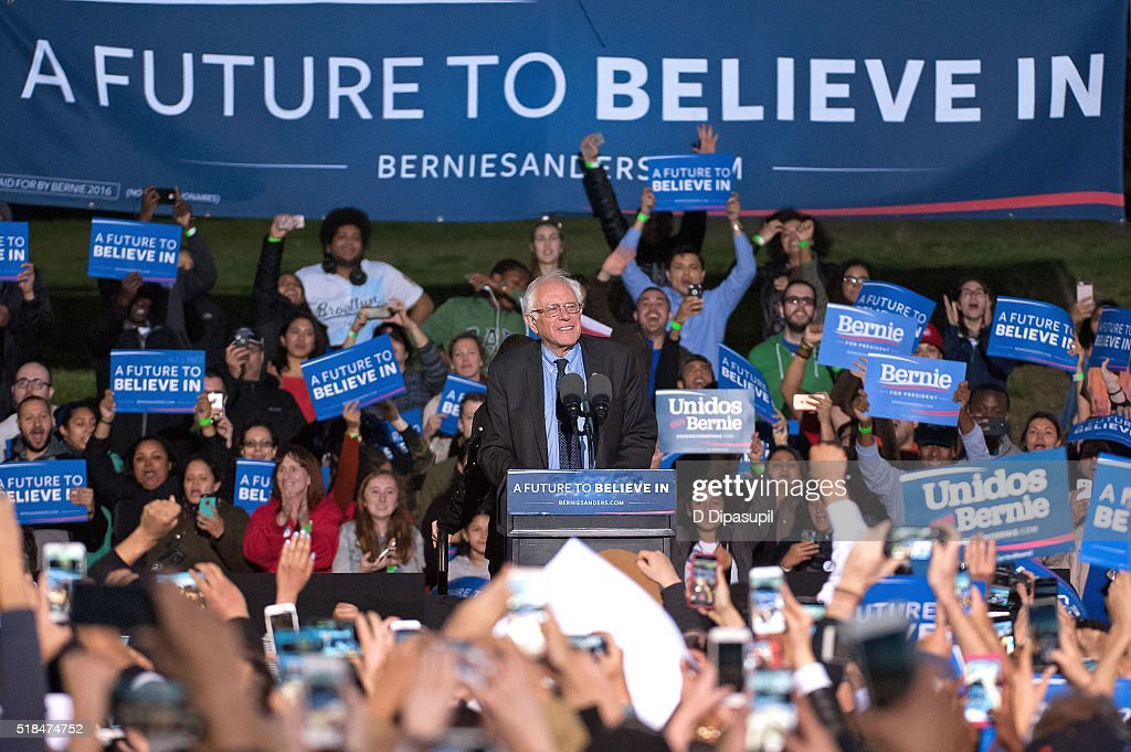 Democratic presidential candidate U.S. Senator Bernie Sanders (D-VT) speaks onstage at a campaign event at Saint Mary's Park on March 31, 2016 in New York City.