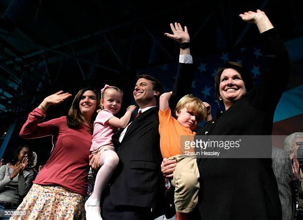 Democratic presidential candidate US Senator John Edwards says goodbye with wife Elizabeth and children Cate Emma Claire and Jack after withdrawing...