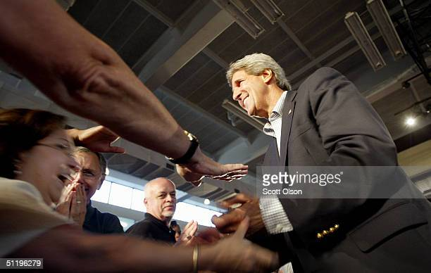 Democratic presidential candidate US Senator John Kerry John Kerry greets a group of supporters at Central Piedmont Community College August 20 2004...