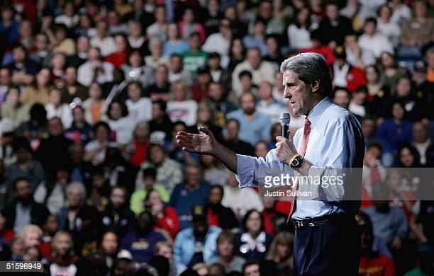 Democratic presidential candidate US Senator John Kerry speaks during a rally October 28 2004 in Toledo Ohio With just under one week left before...