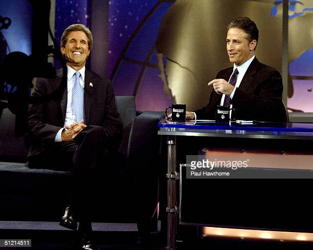 Democratic presidential candidate US Senator John Kerry speaks with Jon Stewart on 'The Daily Show with Jon Stewart' August 24 2004 in New York City
