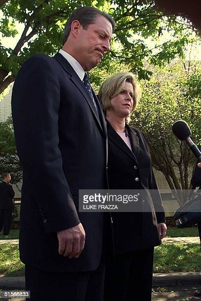 Democratic presidential candidate US Vice President Al Gore tells reporters 17 October 2000 outside Carnahan for Senate headquarters that he and his...