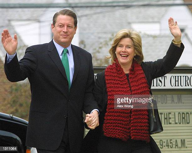 Democratic presidential candidate Vice President Al Gore and his wife Tipper leave the Mt. Vernon Baptist Church December 10, 2000 after attending a...