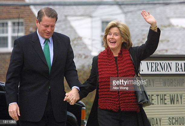 Democratic presidential candidate Vice President Al Gore and his wife Tipper leave the Mt Vernon Baptist Church December 10 2000 after attending a...