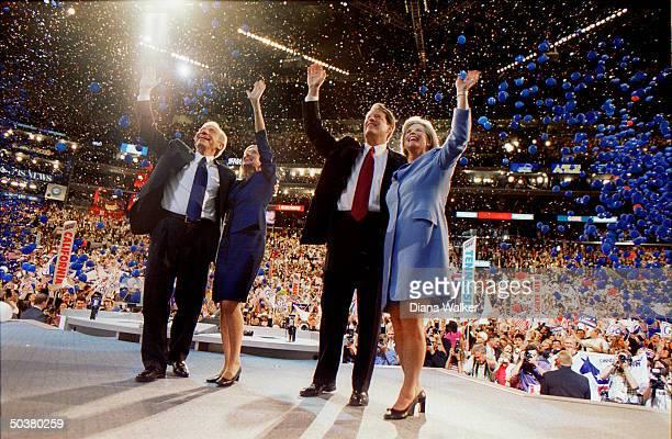 Democratic presidential candidate VP Al Tipper Gore running mate Sen Joseph Hadassah Lieberman waving onstage at Democratic Natl Convention