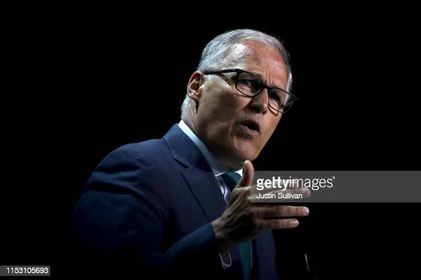 Democratic presidential candidate Washington Gov Jay Inslee speaks during the California Democrats 2019 State Convention at the Moscone Center on...