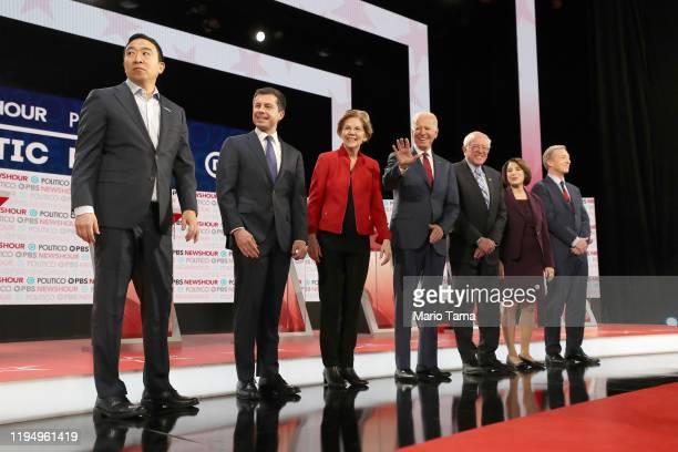 Democratic presidential candidates Andrew Yang, South Bend, Indiana Mayor Pete Buttigieg, Sen. Elizabeth Warren , Former Vice President Joe Biden,...