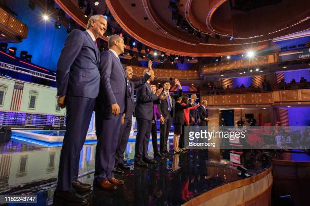 Democratic presidential candidates Bill de Blasio mayor of New York City from left Representative Tim Ryan a Democrat from Ohio Julian Castro former...