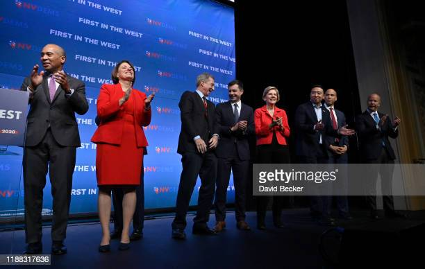 Democratic presidential candidates Deval Patrick US Sen Amy Klobuchar billionaire Tom Steyer South Bend Indiana Mayor Pete Buttigieg US Sen Elizabeth...