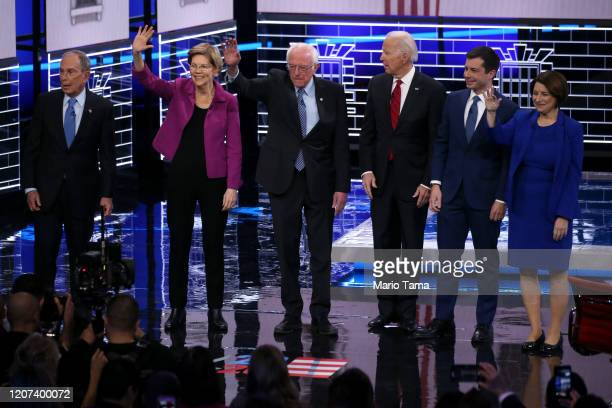 Democratic presidential candidates former New York City Mayor Mike Bloomberg Sen Elizabeth Warren Sen Bernie Sanders former Vice President Joe Biden...