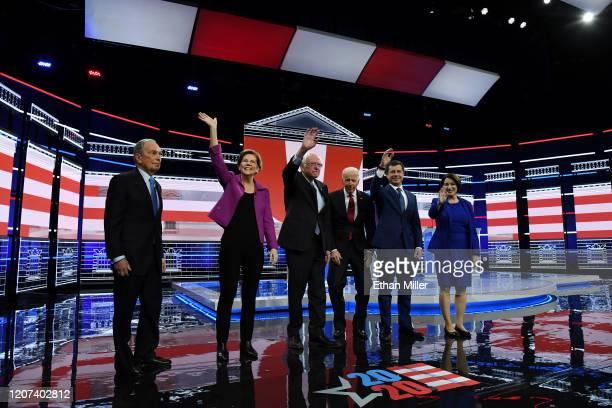 Democratic presidential candidates former New York City Mayor Mike Bloomberg Sen Elizabeth Warren Sen Bernie Sanders former Vice President Joe Biden...
