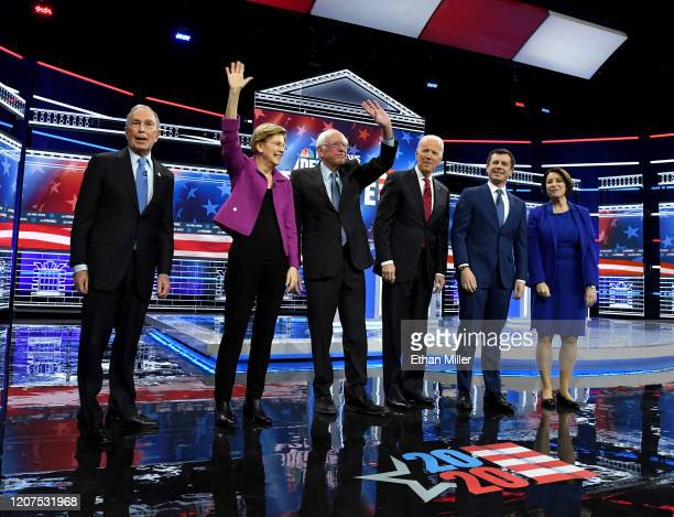Democratic presidential candidates former New York City Mayor Mike Bloomberg, Sen. Elizabeth Warren , Sen. Bernie Sanders , former Vice President Joe...