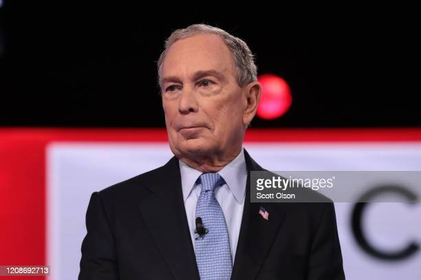 Democratic presidential candidates former New York City Mayor Mike Bloomberg arrives on stage for the Democratic presidential primary debate at the...