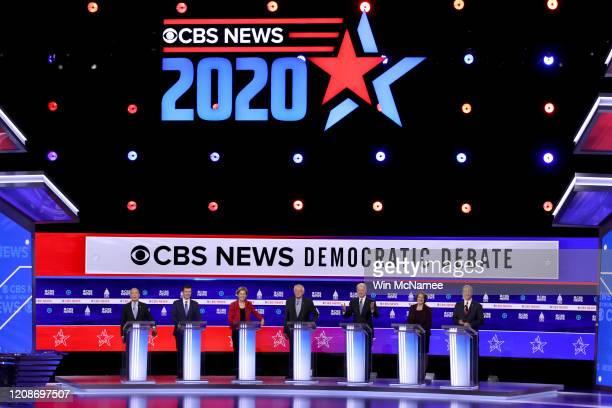 Democratic presidential candidates former New York City Mayor Mike Bloomberg former South Bend Indiana Mayor Pete Buttigieg Sen Elizabeth Warren Sen...