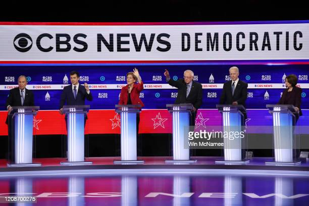 Democratic presidential candidates former New York City Mayor Mike Bloomberg former South Bend Indiana Mayor Pete Buttigieg Sen Elizabeth Warren Sen...
