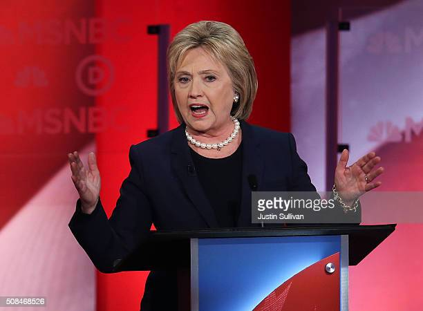 Democratic presidential candidates former Secretary of State Hillary Clinton speaks as she debates with US Sen Bernie Sanders during their MSNBC...
