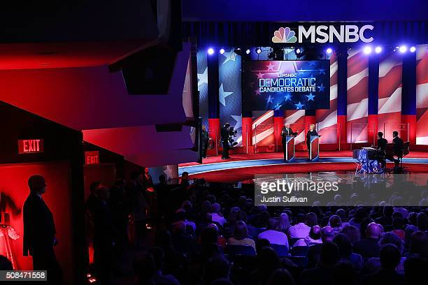Democratic presidential candidates former Secretary of State Hillary Clinton and US Sen Bernie Sanders are asked questions by moderators Rachel...
