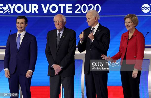 Democratic presidential candidates former South Bend Indiana Mayor Pete Buttigieg Sen Bernie Sanders Sen Elizabeth Warren and former Vice President...