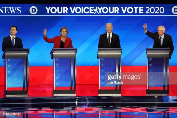 Democratic presidential candidates former South Bend Indiana Mayor Pete Buttigieg Sen Elizabeth Warren former Vice President Joe Biden and Sen Bernie...