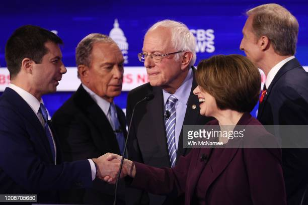 Democratic presidential candidates former South Bend, Indiana Mayor Pete Buttigieg, former New York City Mayor Mike Bloomberg, Sen. Bernie Sanders ,...