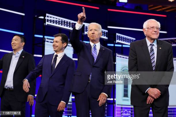 Democratic presidential candidates former tech executive Andrew Yang South Bend Indiana Mayor Pete Buttigieg former Vice President Joe Biden and Sen...