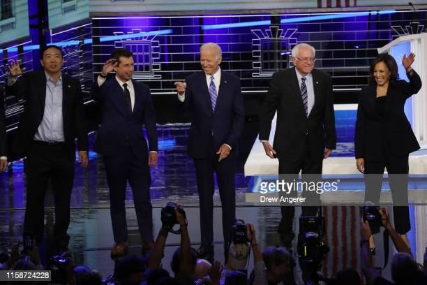 Democratic presidential candidates former tech executive Andrew Yang, South Bend, Indiana Mayor Pete Buttigieg, former Vice President Joe Biden, Sen....