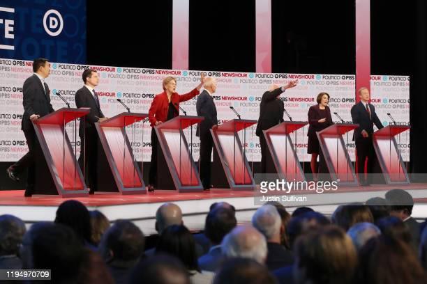 Democratic presidential candidates former tech executive Andrew Yang South Bend Indiana Mayor Pete Buttigieg Sen Elizabeth Warren former Vice...
