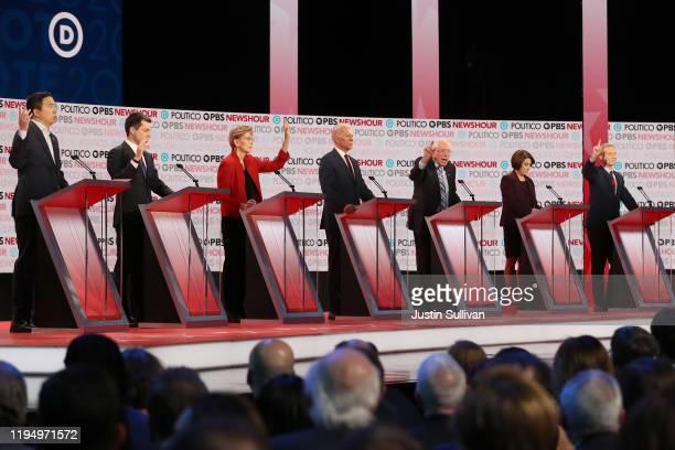 Democratic presidential candidates former tech executive Andrew Yang, South Bend, Indiana Mayor Pete Buttigieg, Sen. Elizabeth Warren , former Vice...