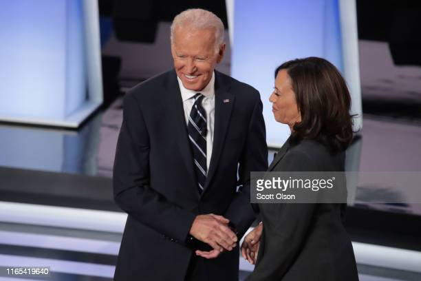 Democratic presidential candidates former Vice President Joe Biden and Sen. Kamala Harris greet each other at the Democratic Presidential Debate at...