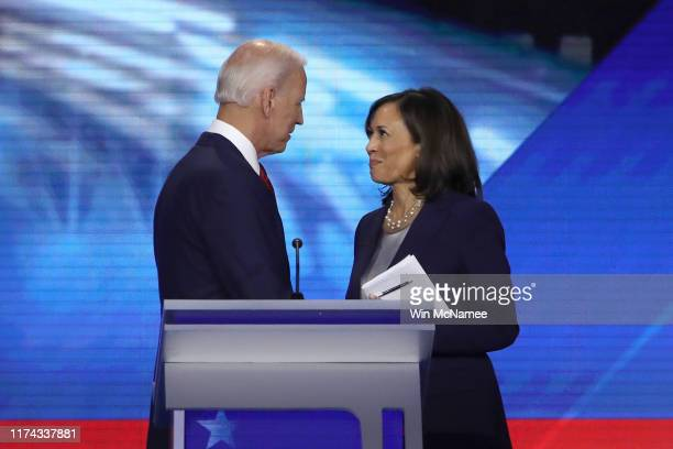 Democratic presidential candidates former Vice President Joe Biden and Sen. Kamala Harris speak after the Democratic Presidential Debate at Texas...