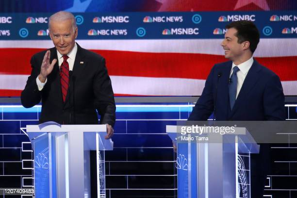 Democratic presidential candidates former Vice President Joe Biden and former South Bend, Indiana Mayor Pete Buttigieg participate in the Democratic...