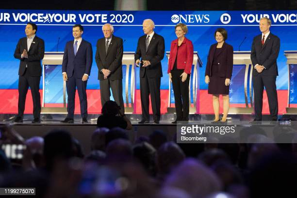 Democratic presidential candidates from left Andrew Yang founder of Venture for America Pete Buttigieg former mayor of South Bend Senator Bernie...