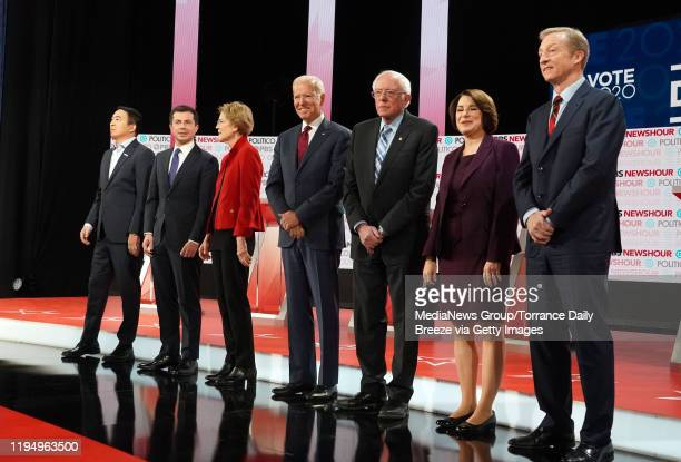 Democratic presidential candidates from left Andrew Yang Mayor Pete Buttigieg Sen Elizabeth Warren former Vice President Joe Biden Sen Bernie Sanders...