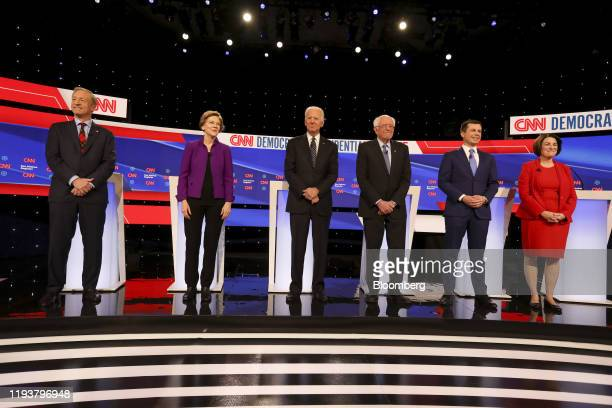 Democratic presidential candidates from left Tom Steyer cofounder of NextGen Climate Action Committee Senator Elizabeth Warren a Democrat from...