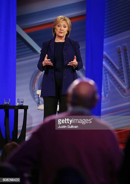 Democratic Presidential candidates Hillary Clinton addresses a person that asked her a question during a CNN and the New Hampshire Democratic Party...