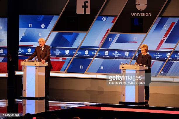 Democratic presidential candidates Hillary Clinton and Bernie Sanders participate in the Univision and Washington Post democratic presidential debate...
