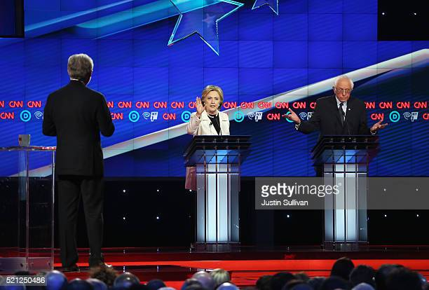 Democratic Presidential candidates Hillary Clinton and Sen Bernie Sanders answer questions as Wolf Blitzer moderates during the CNN Democratic...