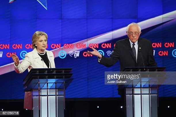 Democratic Presidential candidates Hillary Clinton and Sen Bernie Sanders debate during the CNN Democratic Presidential Primary Debate at the Duggal...