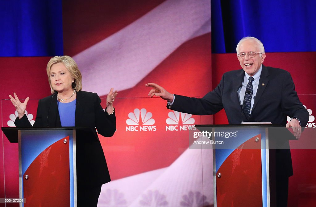 Democratic presidential candidates Hillary Clinton (L) and Senator Bernie Sanders (I-VT) participate in the Democratic Candidates Debate hosted by NBC News and YouTube on January 17, 2016 in Charleston, South Carolina. This is the final debate for the Democratic candidates before the Iowa caucuses.