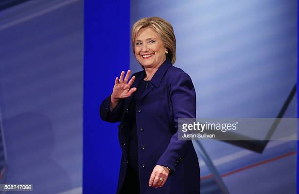 Democratic Presidential candidates Hillary Clinton arrives on stage during a CNN and the New Hampshire Democratic Party hosted Democratic...