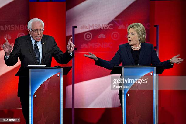Democratic presidential candidates Hillary Clinton former Secretary of State right and Senator Bernie Sanders an independent from Vermont speak...