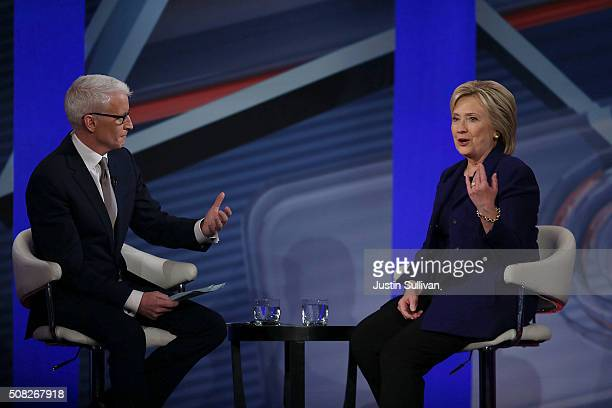 Democratic Presidential candidates Hillary Clinton sits with CNN anchor Anderson Cooper during a CNN and the New Hampshire Democratic Party hosted...