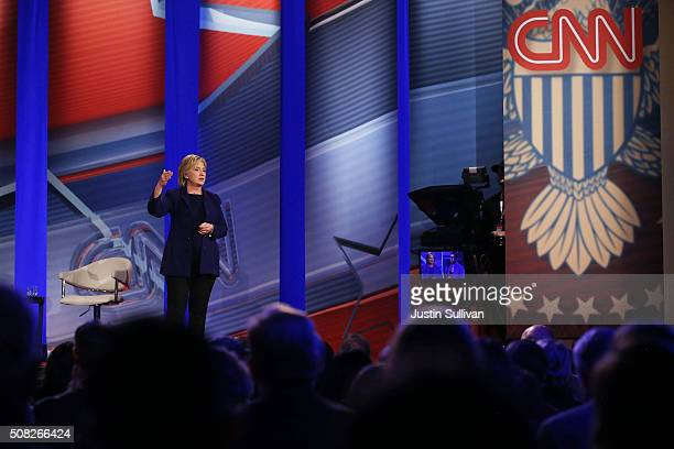Democratic Presidential candidates Hillary Clinton speaks during a CNN and the New Hampshire Democratic Party hosted Democratic Presidential Town...